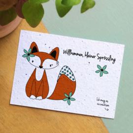 Zaaibare kaart - Willkommen, kleiner Sprössling (bloemenmix)