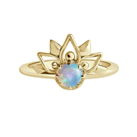 Happy hippies Ring Sunset Mandala maansteen goud
