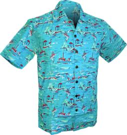 Chenaski overhemd korte mouw Oceaan