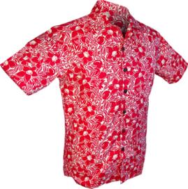 Chenaski overhemd korte mouw Flowers & Fruits Creme-Rood