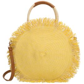Raffia handtas rond - geel
