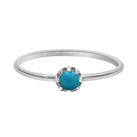 Happy Hippies Ring tiny turquoise zilver