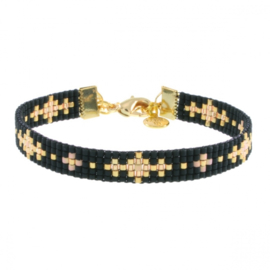 Beads-Armbandje (Little Flowers Black) 'Black Chique'