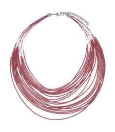 Ketting met roze beads