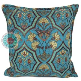 Kussen Flowers mint en turquoise 45x45