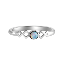 Happy Hippies Ring Harmonica opal sterling zilver