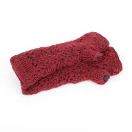 Sjaal met  verhaal handwarmers Bordeaux