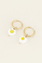 My Jewellery Oorringen witte bloemetjes