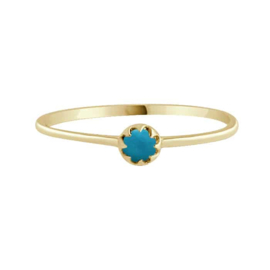 Happy hippies Ring tiny turquoise goud