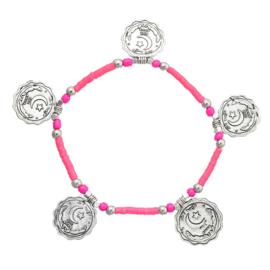 Enkelbandje met munten - Roze