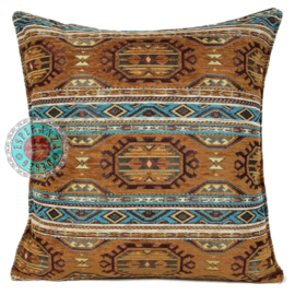 Kussen Maya camel turquoise 45x45