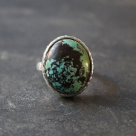 Happy Hippies Ring Turquoise zilver