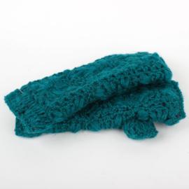 Sjaal met  verhaal handwarmers Zeegroen