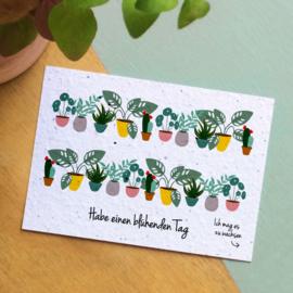 Zaaibare kaart - Habe einen blühenden Tag (bloemenmix)