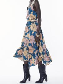 Meisïe - Lange rok flowerprint blauw