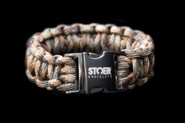 STOER Paracord armband Black camo brown XL
