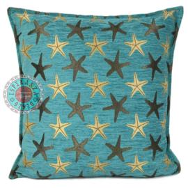 Kussen Starfish turquoise 45x45