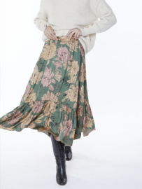 Meisïe - lange rok flowerprint groen