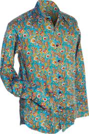 Chenaski overhemd Paisley flowers turquoise