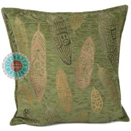 Kussen Boho Feathers olive green kussen 45x45cm