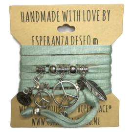 Wikkelarmband Vintage mint met zilveren Peace teken