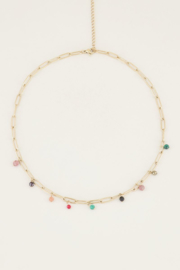 My Jewellery Schakelketting gekleurde steentjes