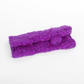 Sjaal met  verhaal handwarmers paars