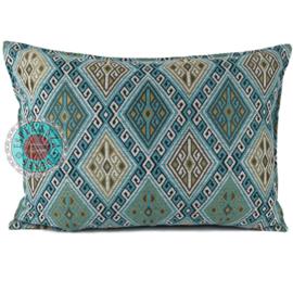 Kussen Kelim turquoise en wit 70x50
