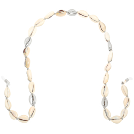 Brillenkoord zilver schelpen