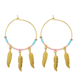 Oorbellen Colourful feathers - turquoise