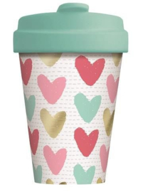 Bamboo cup Happy hearts - Gold