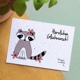 Zaaibare kaart - Herzlichen Glückwunsch! (bloemenmix)