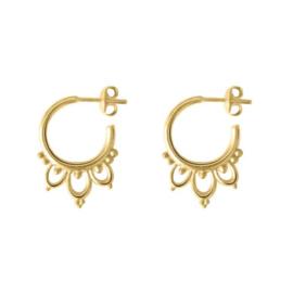 Happy hippies Mini Mandala hoops oorbellen goud