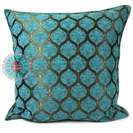 Kussen Honingraat Turquoise bronskleurig 70x70