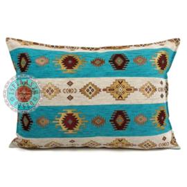 Kussen Aztec wit en turquoise 70x50