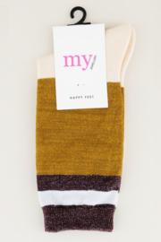 My Jewellery - Gestreepte sokken met glitters (geel/wit/rood)