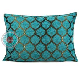 Kussen Honingraat Turquoise bronskleurig 50x70