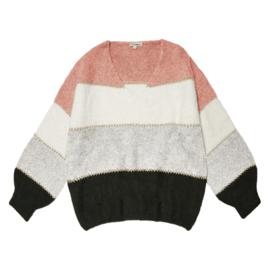V-hals trui grijs/roze