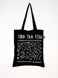 Totebag Find the fish – zwart