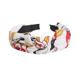 Haarband stof boho Wit - Rood - Geel