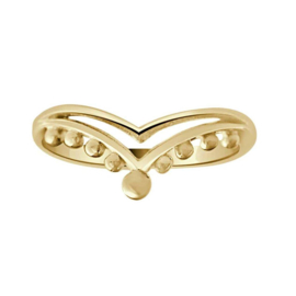 Happy hippies Ring double chevron goud