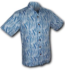 Chenaski overhemd korte mouw leaves wit-blauw