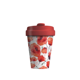 Bamboo cup Poppy flowers