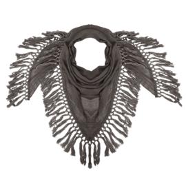 Sjaal bruin met flosjes