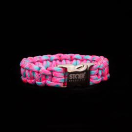 STOER Paracord armband Roze-neon Turquoise