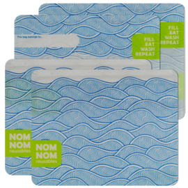 Nom nom reusables wave set van 4 boterhamzakjes