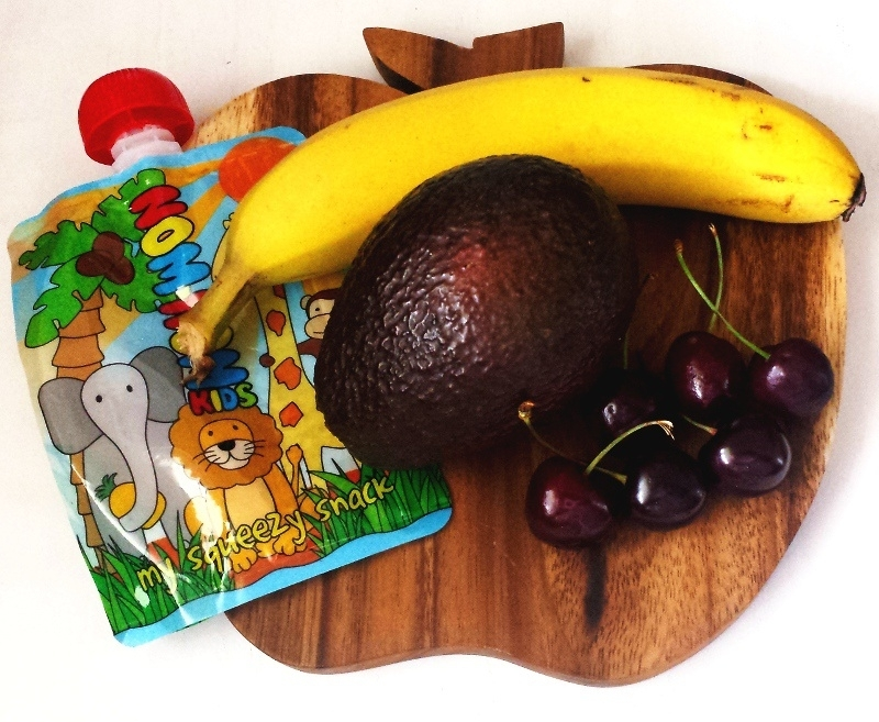Avocado, banaan en kersen fruithapje