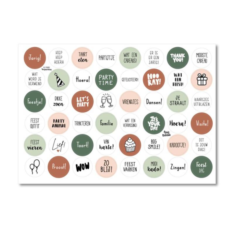 A4 Stickervel met 48 stickers - Thema Verjaardag