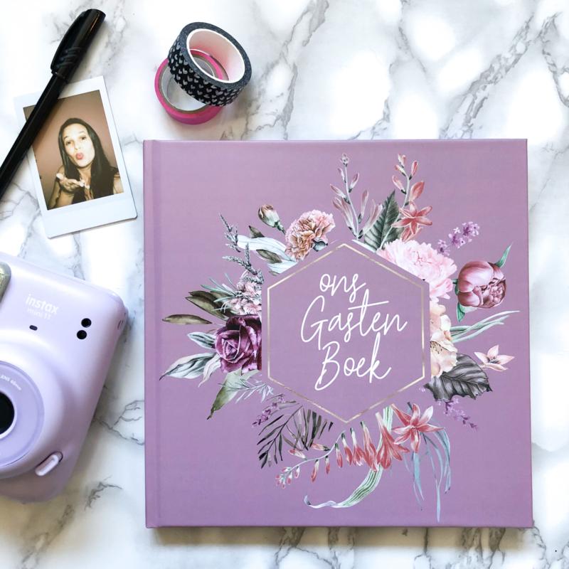 Gastenboek Pretty Purple (met vragen)