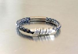 Gepersonaliseerde Lederen Tekst Armband voor Dames en Heren - Antiek Blauw